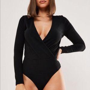 Wrap up V-neck bodysuit